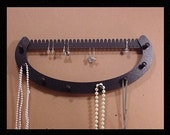jewelry holder NECKLACE & EARRING rack holder  tree  earring organizer 7 pegs black wooden