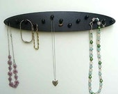 necklace holder jewely rack  wood 13 pegs oval wall mount