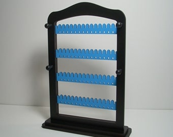 Jewelry holder,  Earring   holder,   Jewelry Rack,   jewelsy storage,  TEAL blue wood with stand & pegs