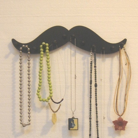 MUSTACHE  black wooden NECKLACE wall rack holder 12 pegs