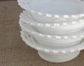 bowls - Set of 4 1930s Laced Edge Milk Glass footed