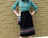 SALE Black Wool Skirt with Woven Blanket Stripes