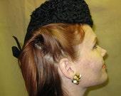 1940s Black Curly Lamb and Felt Hat