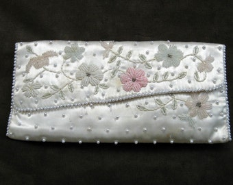 White Satin Clutch with Pastel Beads and Pearls