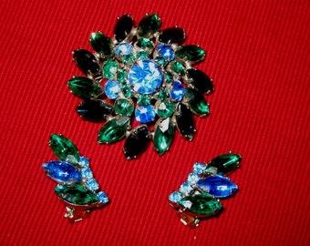Brilliant Blue and Green Rhinestone Brooch & Earrings Set