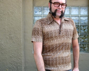 1970s Brown & Beige Graphic Print Shirt