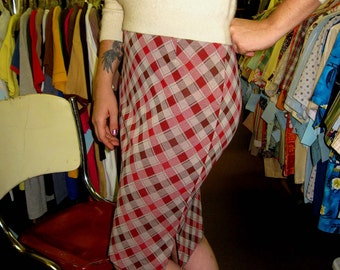 1960s Red & Brown Plaid Skirt