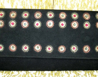 Black Suede Clutch Purse with Coty Cosmetics & Perfume - 1960s