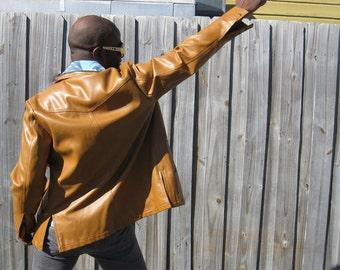 1970s Gold Vinyl Leather-Like Jacket - Vegan - Disco Era