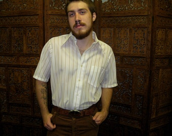 1970s White & Brown Stripe Short Sleeve Shirt