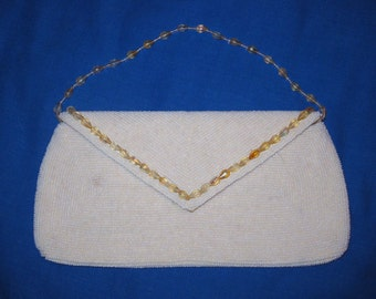 White Seed Bead Evening Bag with Peach Beaded Trim & Handle