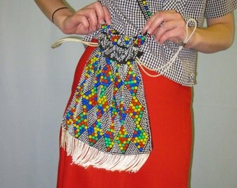 1960s Colorful Beaded Shoulder Bag