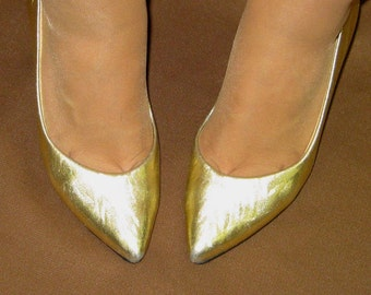 Shiny Gold Pumps with Spike Heels - 6 W