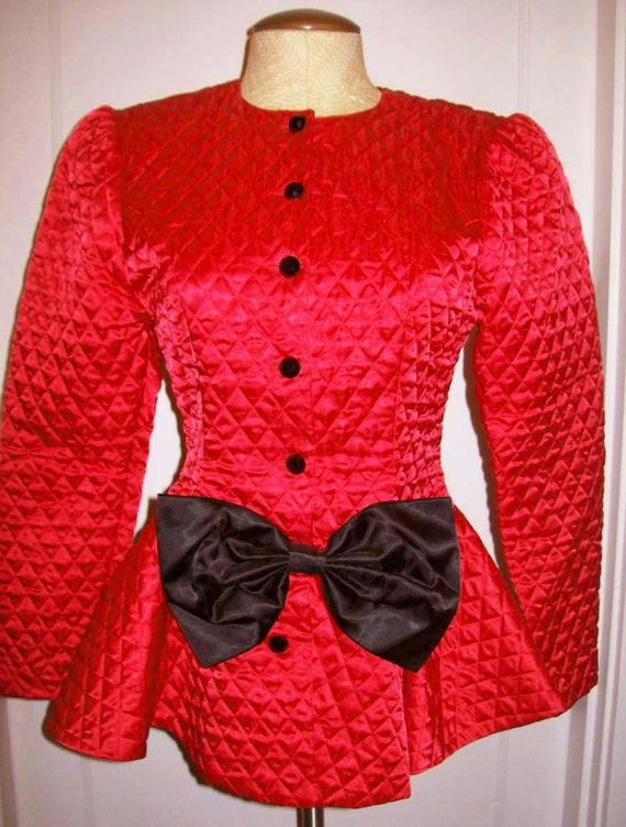 Bright Red Satin 1980s Quilted Jacket