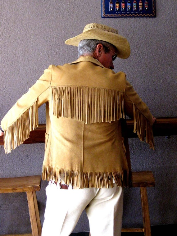 50s Fringed Buckskin Jacket Mens Or Womens By