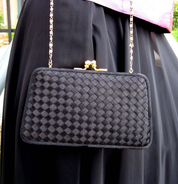 Black Satin Woven Cluch or Shoulder Evening Purse