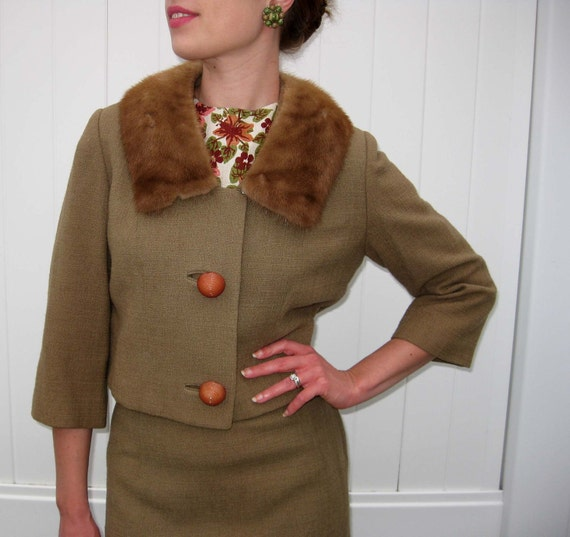 1960s Three Piece Brown Suit with Mink Collar - Mad Men Era