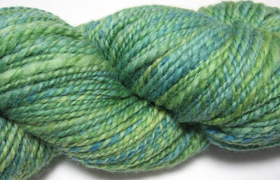 Hand Spun Wool - Corriedale in shades of green
