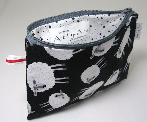 Sheep Print - Lined Cotton Zip Pouch - Notion Bag/Pencil Case