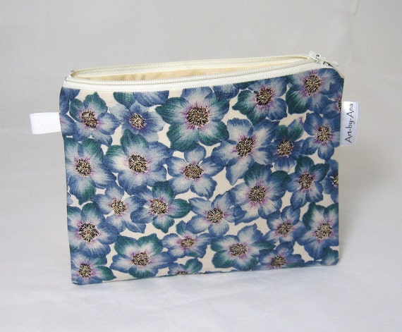 Lined Cotton Zip Pouch - Bell Flowers Print - Pencil Case/Notion Bag