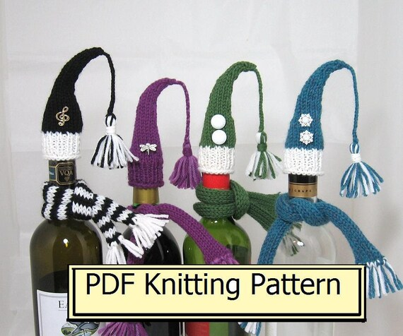PDF PATTERN - Wine Bottle Decorations knitting Pattern