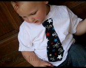 Boys Skull and Red White Blue Stars Tie Onesie or T-Shirt SKULLS and STARS