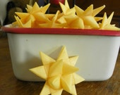 Set of 12 German Folded Paper Star Ornaments--Antique Cream 2 inch