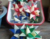 Set of 12 German Folded Paper Stars--Country Combo 2 inch