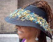 Black Straw Loc Hat with Cowrie Shells