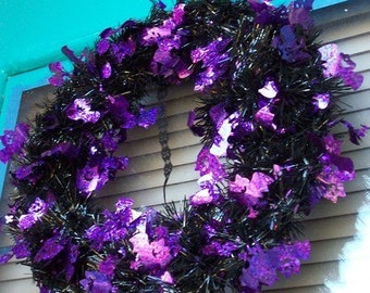 Purple and Black Halloween Wreath