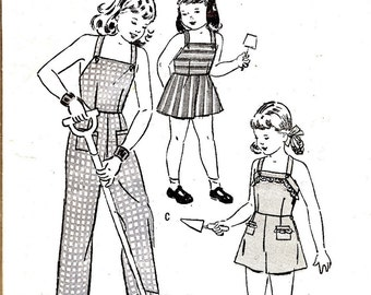 1940s - Vintage Sewing Pattern - Childs Overalls - Bibbed Overalls - Bibbed Shorts - WWII Era - DIY - Vintage Clothing - Butterick 4467