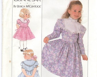 1980s Vintage Sewing Pattern - Gunne Sax - Girls Dress - Simplicity 9438 - Jessica McClintock - Girls Fancy Dress Pattern
