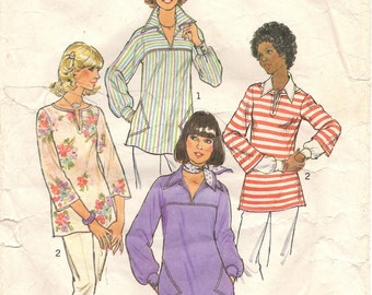 Vintage Sewing Pattern 1970s Pullover Top Simplicity 7446