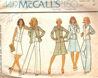 "1970s Vintage Sewing Pattern - Womans Jacket Vest Skirt Pattern - High Waist Pants - 70s Wide Leg Pants - McCalls 4419 - Bust 34"""