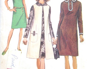 1970s - Vintage Dress - Vest Coat - Sewing Patterns - diy -  Simplicity 9083 - Plus Size - Hipster Fashion - Retro 70 Patterns - Uncut