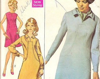 Vintage Sewing Pattern - 1960s Dress - 60s Dress Pattern - Mid Century Dress - Simplicity 7849 -Designer Fashion Pattern - Madmen -Bust 34