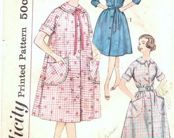 1950s Sewing Pattern - 1950s Housecoat Pattern - 50s Shirt Dress Pattern - Retro Duster Pattern - Simplicity 3712 - Bust 34