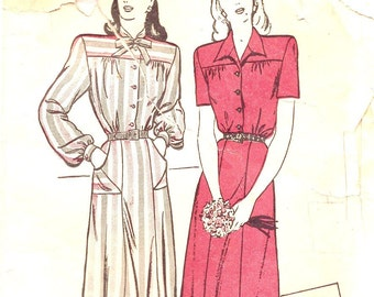 1940s Sewing Patterns - 1940s Dress Pattern - Butterick 3736 - Ladies Shirtwaist Dress - Retro Sewing Patterns -Bust 32