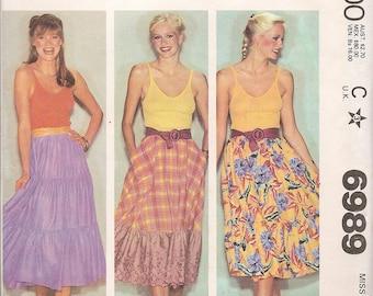 1980s - Vintage Sewing Patterns - Boho - Skirt -DIY - McCalls 6989 - Hippie - Hipster - Retro Pattern - Bohemian Skirt - Uncut