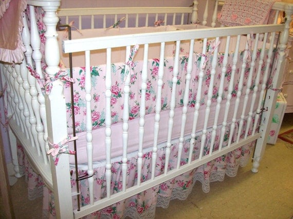 SALE Beautiful Crib Ensemble for your Little Baby Girl made with Paris Bebe Rose Fabric and Gorgeous Vintage White Lace Trim