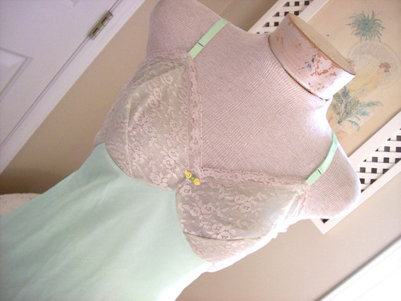 This listing reserved for Kylie Gorgeous Lime Green and Beige Lace Van Raalte Slip A 38