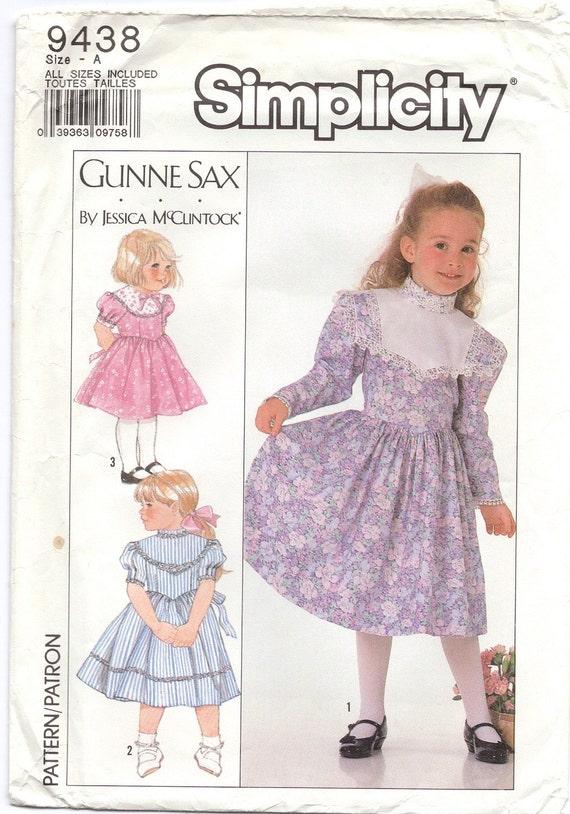 1980s Vintage Sewing Pattern - Gunne Sax - Girls Dress - Simplicity 9438 - Jessica McClintock - Girls Fancy Dress Pattern