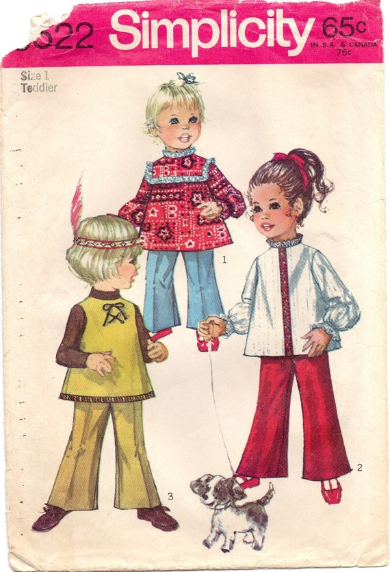 Vintage 1970's Simplicity 8522 Sewing Pattern Childs Pants Top Tenderlane Size 1