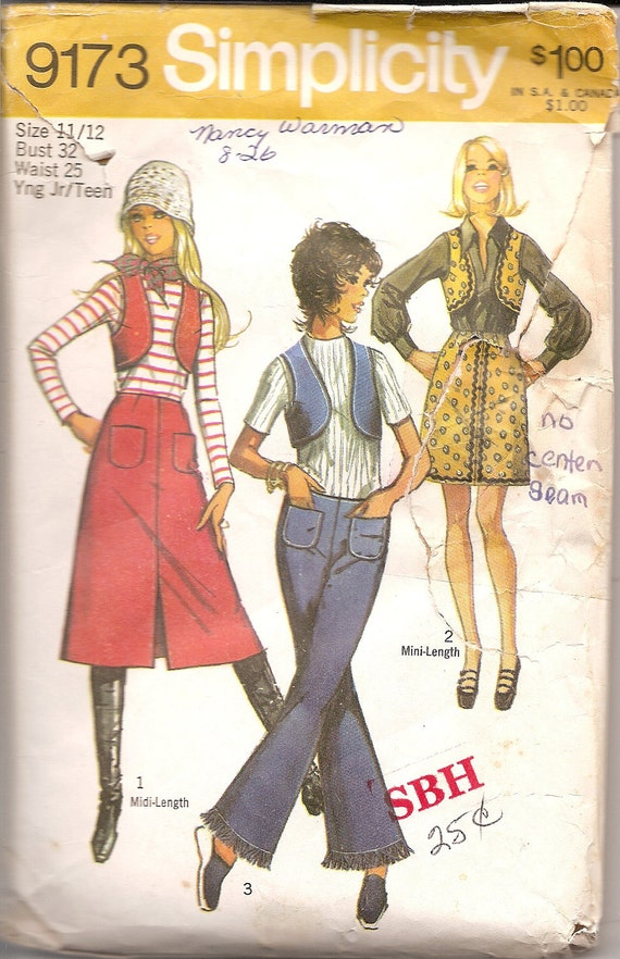 Vintage Sewing Patterns1970s Skirt Vest and Hip Huggers Simplicity 9173 FREE SHIPPING for 3 Patterns
