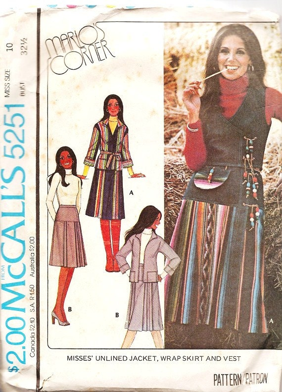 For Empress Vintage Sewing Patterns Jacket , Wrap Skirt and Vest 1970s McCalls 5251 Marlo Thomas FREE SHIPPING fro 3 Patterns