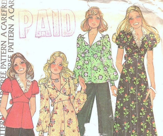Vintage Sewing Pattern McCalls 4140 1970s Maxi Dress or Top