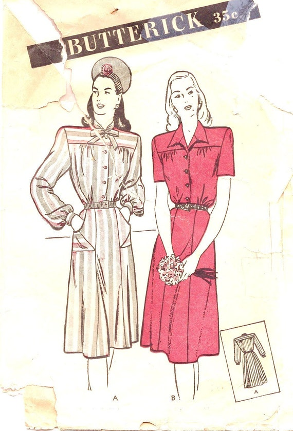 1940s Sewing Patterns - 1940s Dress Pattern - Butterick 3736 - Ladies Shirtwaist Dress - Retro Sewing Patterns -Bust 32