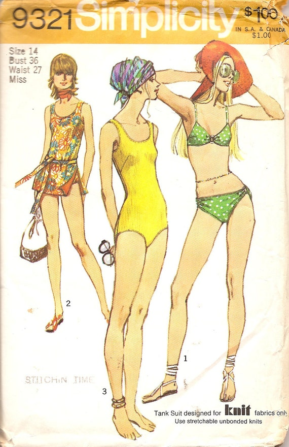 Vintage Sewing Pattern Bathing Suit 1970s Simplicity 9321 and Cover Up