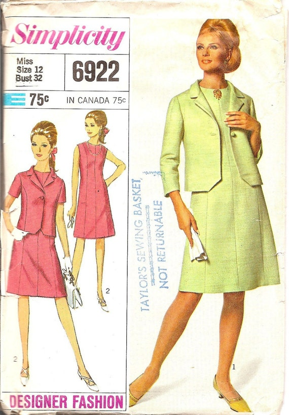 Vintage Sewing Pattern  Dress Jacket Designer Fashion 1960s Madmen Simplicity 6922 FREE SHIPPING for 3 Patterns