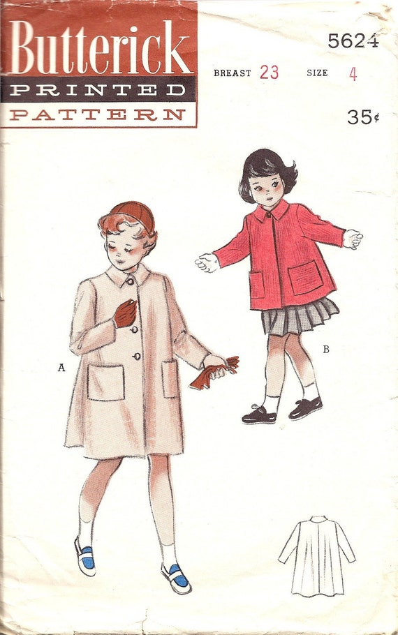 Vintage Sewing Pattern Butterick Girls Coat or Short jacket with Pockets sz 4